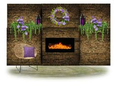 """""""Patio Fireplace"""" by sjlew ❤ liked on Polyvore featuring interior, interiors, interior design, home, home decor and interior decorating"""