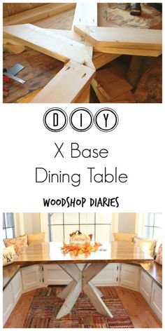 How to build a gorgeous X base dining table that is sure to wow your guests for your next dinner party. A simple tutorial with the whole how to... #WoodworkDIY