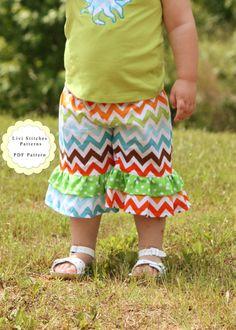 Double Ruffle Pants Sewing Pattern Ruffle Pants Girls Sewing Pattern