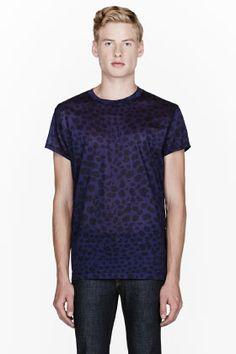Acne Studios Royal Purple Animal Print T-shirt for men | SSENSE