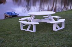"""Amish Poly 54"""" Octagon Picnic Table Delight in outdoor dining with eco friendly poly furniture. Popular octagon shape adds to the fun. Made in America and built to last. #polyfurniture #picnictable"""