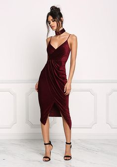 Burgundy Velvet Faux Wrap Choker Dress - Dresses