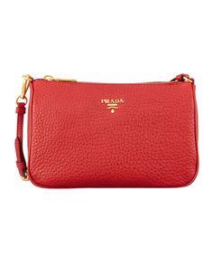 Daino Small Shoulder Bag, Red by Prada at Bergdorf Goodman.