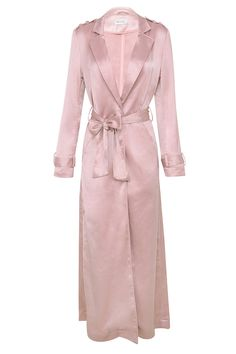 The most fabulous coat of the season, our amazing 'Fabienne' is just perfection. Featured in a gorgeous Rose Gold tone and made from light and billowy satin, 'Fabienne' has a longer length, long sleeves and a tie wrap. Satin Duster, Satin Coat, Silk Coat, Duster Coat, Trenchcoat Style, Preppy Look, Bodycon, Military Fashion, Military Style