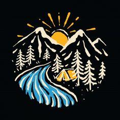 Camping Hiking Mountain Nature River Illustration Art T-shirt Tatoo Naruto, Graphic Design Illustration, Illustration Art, Drawing Sketches, Art Drawings, Hipster Drawings, Hipster Art, Camping Drawing, Nature Vector