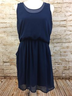 Lush Two Tone Blue Sleeveless Blouson Dress Front Pockets Womens Size Large #Lush #Blouson