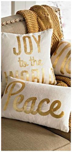 Elegant Christmas, Gold Christmas, Christmas Time, Merry Christmas, Xmas, Holiday, Pin Logo, The Night Before Christmas, Bed Pillows