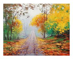 Hey, I found this really awesome Etsy listing at https://www.etsy.com/ru/listing/109356520/autumn-fall-painting-road-yellow-trees