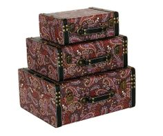 Storage Box - Paisley Pattern (Set of 3)   A decorative storage box set with a unique paisley design.   Comes in a set of three boxes.  Small Height : 10cm Width : 25cm Depth : 20cm  Medium Height : 13cm Width : 32cm Depth : 27cm  Large Height : 17cm Width : 37.5cm Depth : 32.5cm