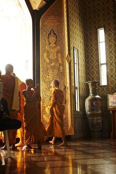 Monks at Wat Traimit - Bangkok, Thailand