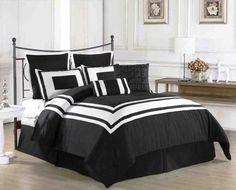 Black Bedding Sets King - Home Furniture Design Plum Bedding, Purple Bedding Sets, Grey Comforter Sets, Black Bedding, Queen Comforter Sets, Bedroom Black, Purple Bedroom Decor, Purple Comforter, Master Bedroom