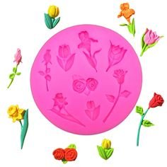 1 x Various Flowers Shaped Silicone Mold Mold Size: 7.7 x 7.7 x 0.9 cm Material: Silicone Temperature: -40° ~ +230° ★ Easy to clean ★ Food Safe, FDA Approved ★ Can be used in the refrigerator, oven, d