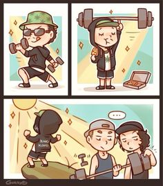 Hollywood Undead ❤️chibi Funny Man lifting weights