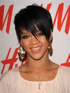 Beautiful rihanna short haircuts with side fringes