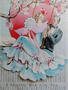 Vintage Valentine's Day Card Lady in Swing by VintagePolkaDotcom
