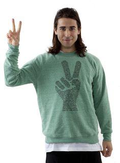 Spread Peace Crew Neck Sweatshirt. kinetic vigilantes yoga clothes.