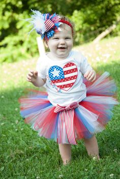 Patriotic/4th of July Tutu Outfit with by BellissimoBoutique1, $50.00