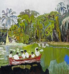 Peter Doig, Red Boat (Imaginary Boys), 2004. Oil on canvas, 200 x 186 cm.