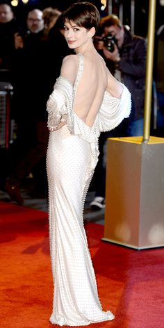 Anne Hathaway in Givenchy couture at the premiere of Les Mis. #redcarpet ~