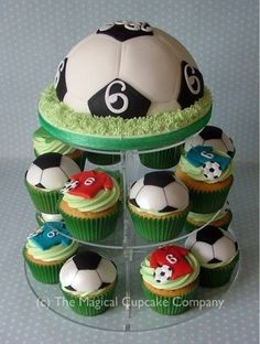 Football cake - displayed on a wedding acrylics cupcake stand www.weddingacrylics.co.uk for your #sugarcraft #cake and #baking supplies!