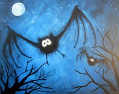 Catwoman, Joker, Poison Ivy all know it's all about the Bat.  Join us in celebrating Halloween with this seasonal painting.  Have fun painting these fuzzy bats with lots of character as they fly through the night sky.  This is a simple and fun painting the entire family will enjoy.
