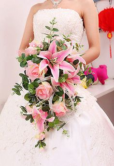 HANDMADE Bride Wedding Bouquet Flower Teardrop Cascade Pink Lily&Rose Large size