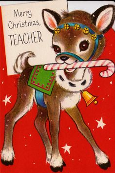 1950s Merry Christmas Teacher Vintage Greetings Card....cute tag for gift