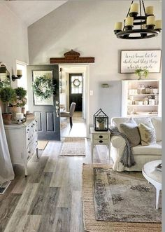 33 Farmhouse Living Room Flooring Ideas - Home Decor Cottage Living Rooms, Home Living Room, Living Room Designs, Living Room Decor, Apartment Living, Farmhouse Living Rooms, Neutral Living Rooms, Country Style Living Room, Beach Living Room
