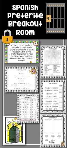 """A fun, interactive activity to practice or review regular and irregular preterite conjugations to your students. Students are trapped in the past and have six different """"locks"""" they need to open to repair their time machines and """"break out."""" No additional purchases or materials rq'd. Six or four puzzle options for struggling students or classes, making it easy to differentiate. This lesson is engaging, and excellent practice for conjugating regular and irregular verbs in the preterite."""