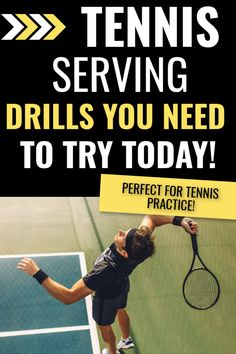 Tennis serving drills you need to try at your next tennis practice. These tennis drills will help you get a more powerful serve while improving your accuracy. Tennis Bag, Tennis Gifts, Tennis Racket, Tennis Serve, Tennis Match, Tennis Players, Drills, Squat, Improve Yourself