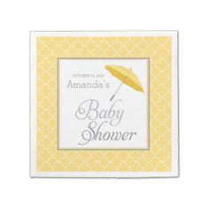 Yellow Umbrella Baby Shower napkins Disposable Napkin