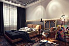 Спальня в стиле лофт, Спальня в стиле Лофт , лофт, дизайн, интерьер, просмотров 502