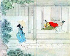 Designers Party : A secret meeting under the moon : Yun-bok Shin Korean Photo, Korean Art, Korean Traditional, Traditional Art, Asian Artwork, Korean Painting, Under The Moon, Naive Art, Medieval Art