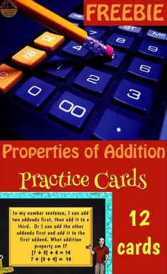 Use this FREEBIE to review the Properties of Addition with your students.  Use them as exit tickets, review cards, put them in a center or make a game with them.  12 cards, 4 for each property.  Come download them now and check out more resources for the Properties of Addition.