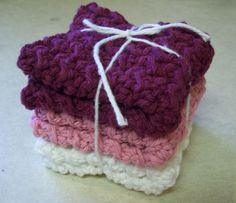 Cotton Crocheted Washcloths in Valentine by roadstoeverywhere, $7.50