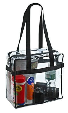 """Clear Tote Bag NFL Stadium Approved - 12"""" X 12"""" X 6"""" - Sh..."""