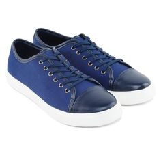 Mix Material Lace Up Sneaker by Ezra y Zalora. Blue shoes with almond toe style, front laces, rubber sole, accent mix material fabric and pu leather, this casual shoes look perfect if you pair it with jeans or chino and plain t-shirt.  http://www.zocko.com/z/JEoiv