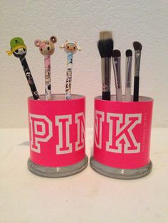 Victoria's+Secret+Pink+inspired+makeup+brush+holders+by+MLGalore,+$20.00