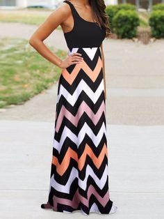 2015 Women Maxi Dress Contrast Chevron Tank Sleeveless High Waist Casual Summer Style Dress Vestidos