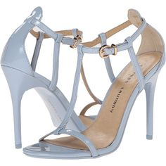 Chinese Laundry Leo T Strap Sandal (Cashmere Blue Patent) High Heels ($35) ❤ liked on Polyvore featuring shoes, sandals, blue, blue sandals, blue patent leather shoes, patent leather sandals, blue high heel shoes and ankle wrap sandals