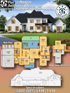 Architectural Designs Exclusive Two Story Southern Style House Plan 510165WDY 2600 Square Feet 3-4 Beds 3-4 Full Baths with a bonus room above the garage! Enjoy all of the comforts of a well-thought-out floor plan with this exclusive, two-story house plan, which features dedicated storage space in the 3-car garage and a spacious bonus level with a full bath. Inside, a dining room is located to the left of the foyer, while the sizable great room can be seen straight ahead.