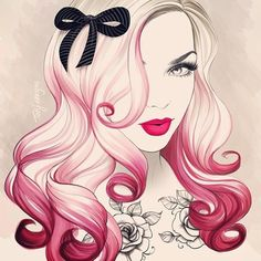 Illustration of girl with pink ombre hair and tattoos #art #illustration #ombre #tattoo