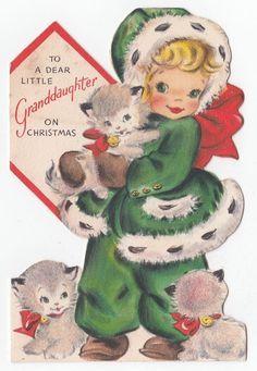 Vintage Greeting Card Christmas Hallmark Die-Cut Cute LIttle Girl Kittens Cat