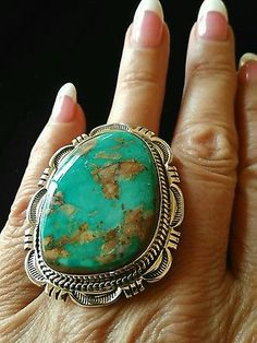 Natural-Royston-Turquoise-Navajo-Ring-Size-8-Signed-Sterling-SIlver-C-Atencio