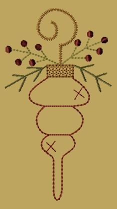 PK093 Christmas Ornament Love - 5x7: Primitive Keepers, Prim Machine Embroidery Designs