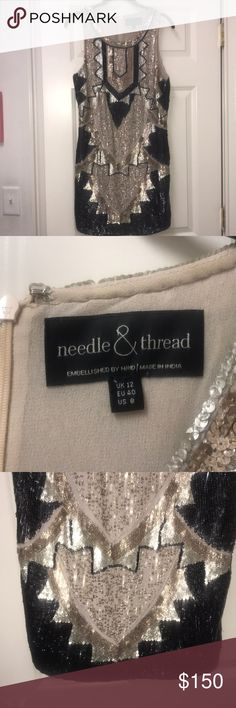 Needle & Thread Sequin Tank Dress in Black & Gold Gorgeous all sequin number in tan, gold, and black. Like new, only worn once for a formal event. US size 8 but fits like a 6 Needle & Thread Dresses