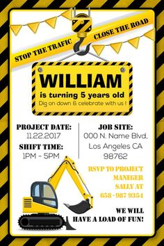 Construction Birthday Invitation Dump Truck Theme Under Everythin