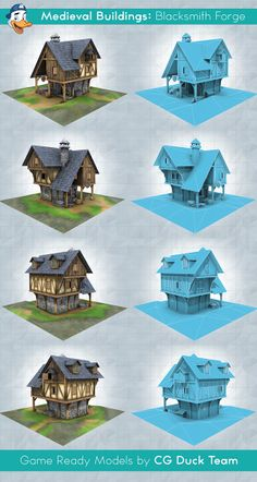 Medieval Buildings: Blacksmith Forge. Game ready low-poly 3d model