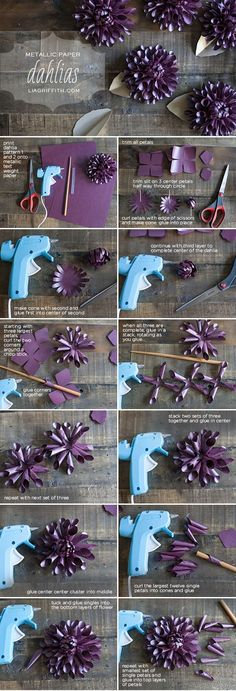 Make a Paper Dahlia for Fall - Lia Griffith - Tutorial: DIY Paper Dahlias by Lia Griffith - Paper Flowers Diy, Handmade Flowers, Flower Crafts, Diy Paper, Paper Art, Paper Crafts, Making Fabric Flowers, Plum Paper, Diy Projects To Try