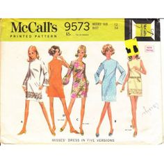 McCalls 9573 60s Bell Sleeved Dress Sewing Pattern 12 B34 found on Polyvore